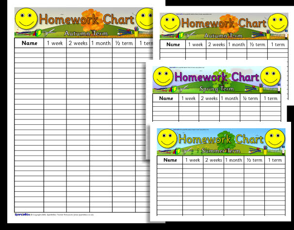 SparkleBox KS2 | Editable homework charts (S2B297) | Mr Williams Maths