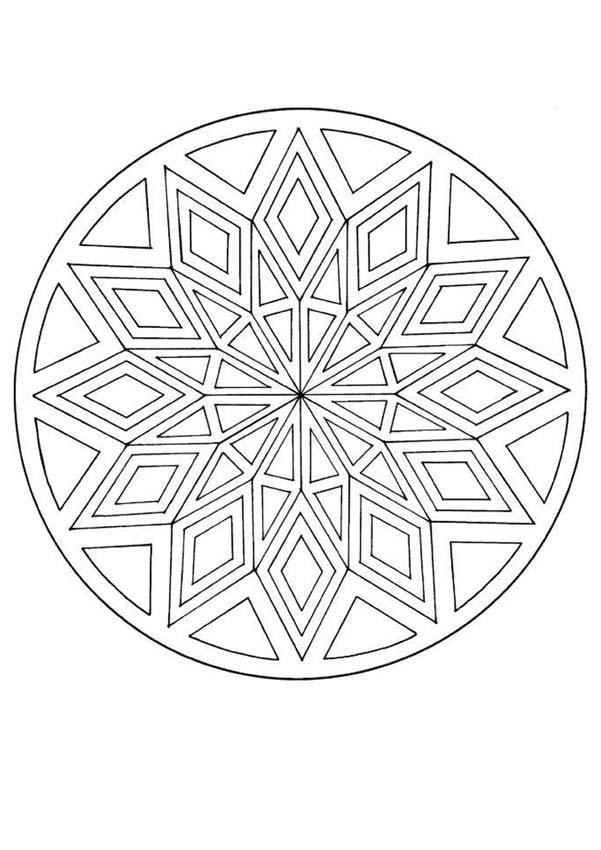 Mandala coloring pages ~ Mandala with a diamond pattern – Mandalas for ADVANCED ...