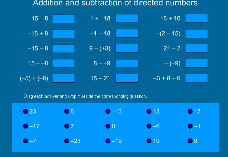 Addition and Subtraction of Integers (directed numbers) | Mr ...