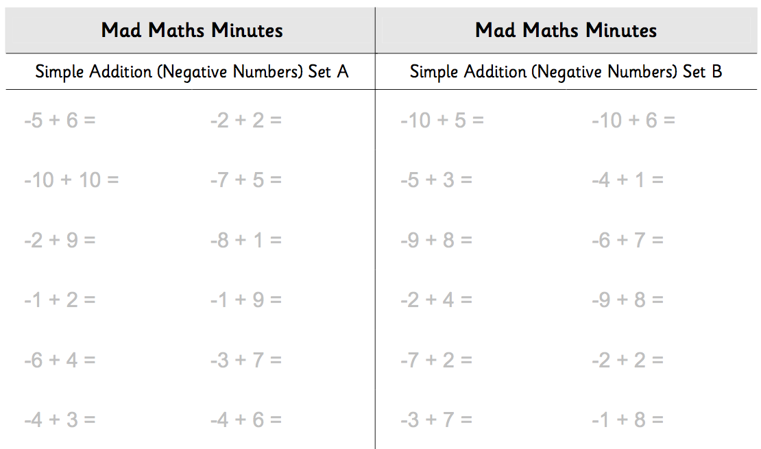 math worksheet : negative numbers  integers worksheets from snappy maths  mr  : Maths Worksheets Ks3