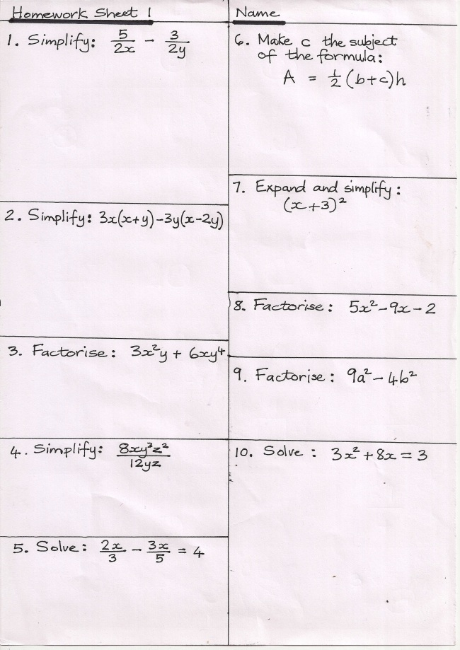 Worksheet 644447 Gcse Higher Maths Revision Worksheets GCSE – Year 7 Maths Revision Worksheets