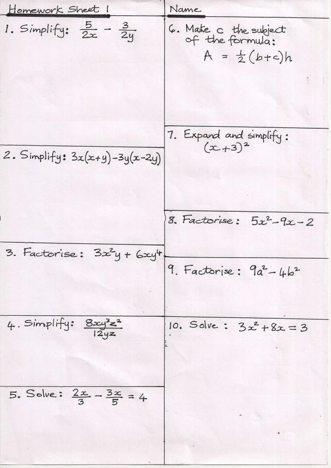 GCSE Maths – Gcse Maths Tutor Worksheets